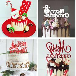 Merry Christmas Acrylic Cake <font><b>Topper</b></font> Snow