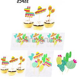Mexican Fiesta Party Striped Decorative Cupcake Topper - Set