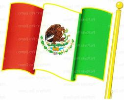 Mexican Flag Birthday ~ Edible 2D Fondant Cake Cupcake Toppe