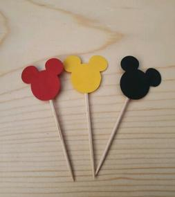 Handmade Mickey 3 Soild Color Cupcake Toppers 12ct Black,Yel