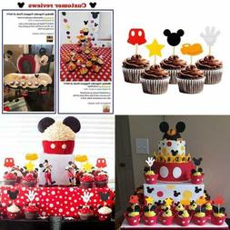 30PCS Mickey Inspired Cupcake Toppers Kids Birthday Party Ca
