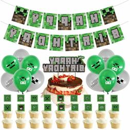 minecraft party supplies birthday Banner, Cupcake and Cake T