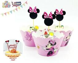 Minnie M. Pink bow  Kid's Cupcake Wrapper+Topper Kit Set of