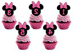 Minnie Mouse Ears Pink Bow Edible Wafer Cupcake Toppers 1st