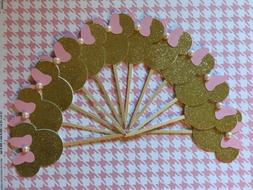 Minnie Mouse Pink And Gold Party Set Of 12 Cupcake Toppers