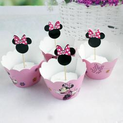 Minnie Mouse Pink bow  Kid's Cupcake Wrapper+Topper Kit Set