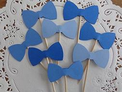 Mixed Blue Bow Tie Cupcake Toppers - Food Picks - Party Pick