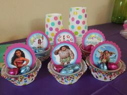 moana cupcake toppers pink round paper girl
