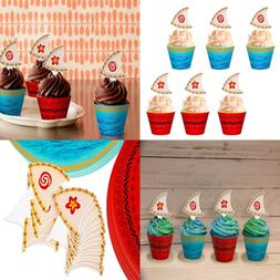 moana cupcake toppers wrappers party