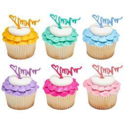 Mother's Day Cake Toppers Mom Cupcake Picks One Dozen