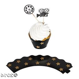 Movie Night Cupcake Wrappers with Picks - 100 pcs, makes 50