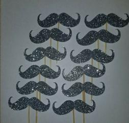 Mustache Cupcake Toppers - Silver Glitter - Set of 12