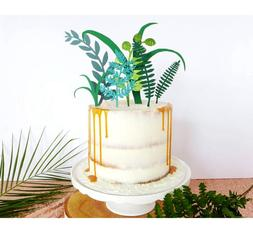 Nature Green Plant Cake <font><b>Toppers</b></font> Laser <f