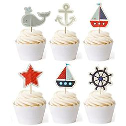 Nautical Cupcake Toppers Whale Cake Decorations For Baby Sho