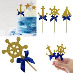 Shxstore Nautical Theme Cupcake Cake Toppers Picks Of Anchor