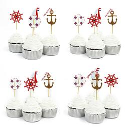 48 Pcs Nautical Theme Cupcake Picks Cupcake Toppers Food Fru
