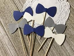 Navy Blue Grey and White Bowtie Cupcake Toppers - Food Picks