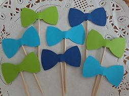 Navy Blue Lime Green and Aqua Blue Bow Tie Cupcake Toppers -