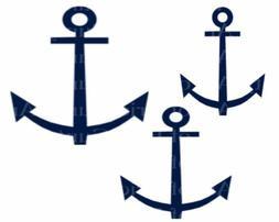 Navy Sailing Anchors Birthday ~ Edible 2D Fondant Cake Cupca