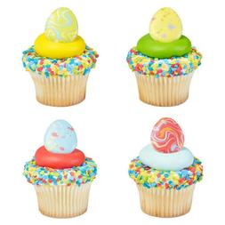 New Cake Toppers Painted Easter Eggs Cupcake Rings One Dozen