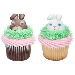 New Easter Cake Toppers Cute Bunny Faces Cupcake Rings One D