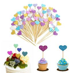 New Heart Shape Birthday Cupcake Cake Toppers Insert Card We