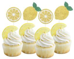 NEW Yellow Gold Glitter Lemon Cupcake Toppers - 12 Pack