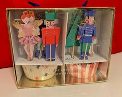 NIB Meri Meri The Nutcracker Cupcake Kit 24 Toppers & 24 Cup
