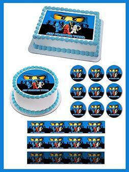 "NINJAGO BLUE Ninja Blue Face - Edible Cupcake Toppers - 1.8"""