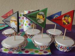 Ninjago inspired 24 cupcake toppers-penantspaper decor-wood