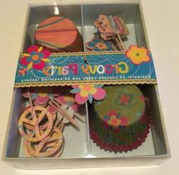 NIP MERI MERI Cupcake Kit GROOVY PARTY 24 Liners & 24 Topper