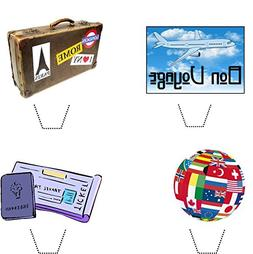 Novelty Bon Voyage / Travel Mix 12 Edible Stand up wafer pap