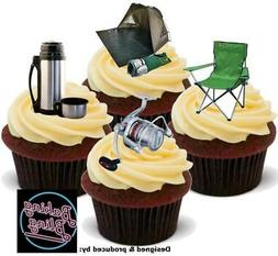 Novelty Fishing Camping Mix Edible Cake Cupcake Toppers Deco