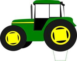 Novelty Green Tractor 12 Edible Stand up wafer paper cake to