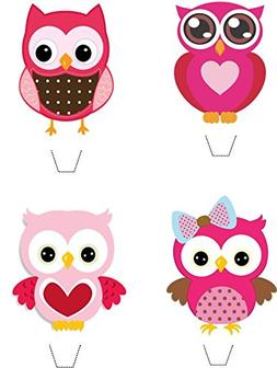 Novelty Pink Owl Mix 12 Edible Stand up wafer paper cake top