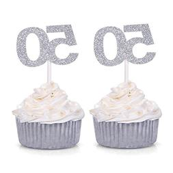 Number 50 Cupcake Toppers Silver Glitter 50th Birthday Celeb