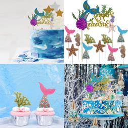 Ocean Glitter Mermaid Happy Birthday Cake Topper Under The S