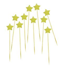 DLOnline 50Pack Cupcake Topper Glitter Gold Star Cakes Toppe