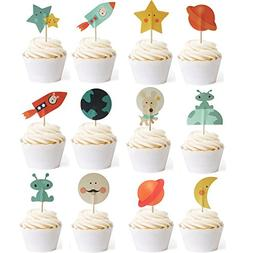 Outer Space Dog Cupcake Toppers Rocket Themed Party Aliens C