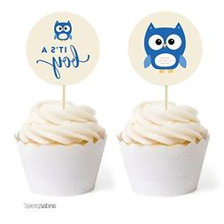 Andaz Press Boy Owl Baby Shower Collection, Cupcake Topper D
