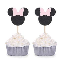Pack of 24 Pink and Black Minie Mouse Inspired Cupcake Toppe