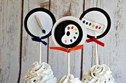 Art Painting Party Cupcake Toppers