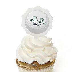 Par-Tee Time - Golf - Cupcake Picks with Stickers - Birthday