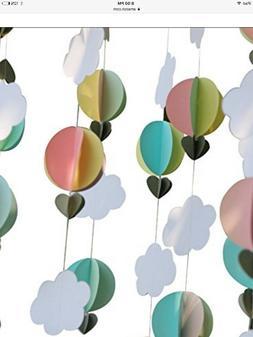 Parmay Pastel Clouds Hot Air Balloons Garland Up Up and Away