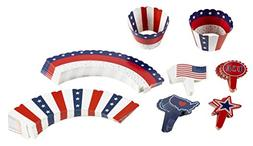 102-Piece Patriotic Cupcake Toppers and Liners - American Fl
