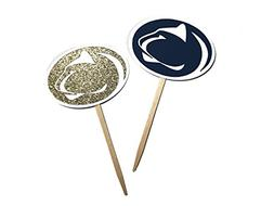 Penn State Navy and Gold Cupcake Toppers Set of 12 / Happy G