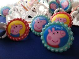 Peppa pig rings cupcake toppers huge lot birthday theme cake