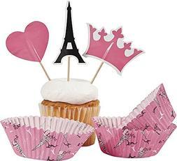Paris Party Cupcake Cups w/ Picks