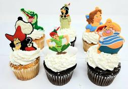 PETER Pan Birthday Cupcake Cake Topper Set Captain Hook, Sme