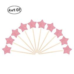 JANOU Pink Glitter Star Cake Topper Cupcake Picks for Weddin